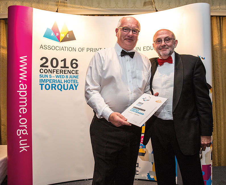 Paul Tetley collects the highly-commended award