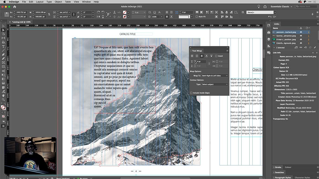 Tony Harmer – text wrap using 'select subject' in InDesign